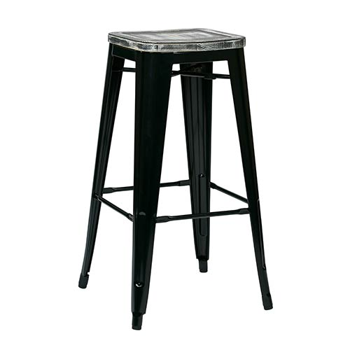 Office Star Products Bristow Black and Ash Crazy Horse 30-Inch High Antique Metal Barstool with Vintage Wood Seat, Set of 2