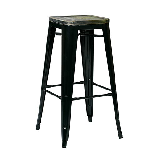 Office Star Products Bristow Black and Ash Cameron 30-Inch High Antique Metal Barstool with Vintage Wood Seat, Set of 4