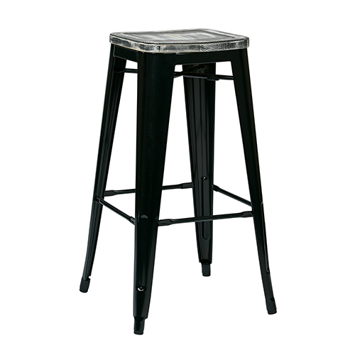 Office Star Products Bristow Black and Ash Crazy Horse 30-Inch High Antique Metal Barstool with Vintage Wood Seat, Set of 4