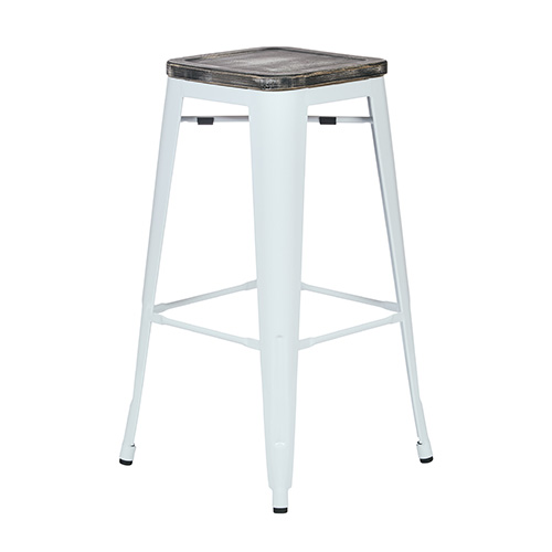 Office Star Products Bristow White and Ash Crazy Horse 30-Inch High Antique Metal Barstool with Vintage Wood Seat, Set of 2