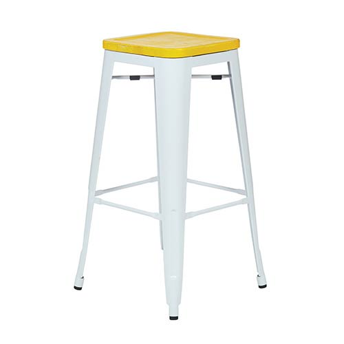 Office Star Products Bristow White and Ash Yellowstone 30-Inch High Antique Metal Barstool with Vintage Wood Seat, Set of 2