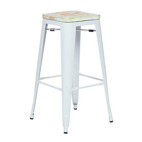 Office Star Products Bristow White and Pine Irish 30-Inch High Antique Metal Barstool with Vintage Wood Seat, Set of 4