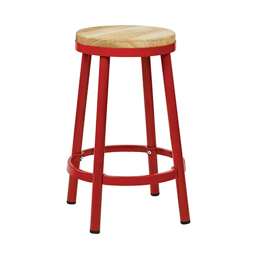 Office Star Products Bristow Red 26-Inch High Metal Backless Barstool