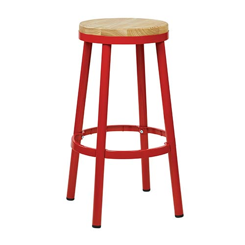 Office Star Products Bristow Red Frame 30-Inch High Metal Backless Barstool