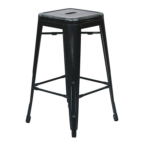 Office Star Products Bristow Antique Black 26-Inch High Metal Barstool, Set of 2