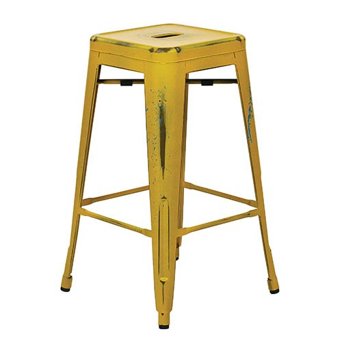 Office Star Products Bristow Antique Yellow 26-Inch High Metal Barstool, Set of 4
