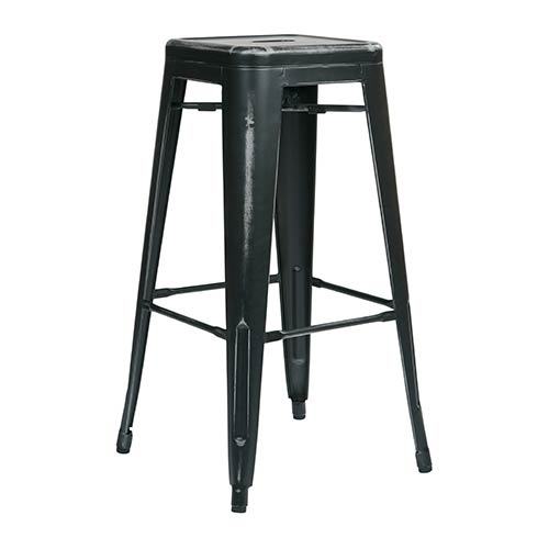 Office Star Products Bristow Antique Black 30-Inch High Metal Barstool, Set of 2