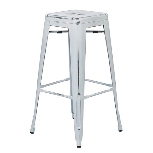 Office Star Products Bristow Antique White 30-Inch High Metal Barstool, Set of 4