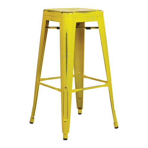 Office Star Products Bristow Antique Yellow 30-Inch High Metal Barstool, Set of 4