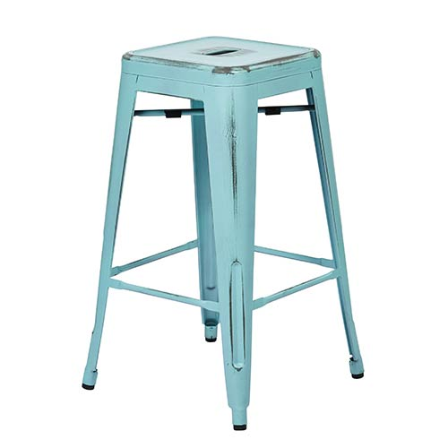 Office Star Products Bristow Antique Sky Blue 26-Inch High Metal Barstool, Set of 4