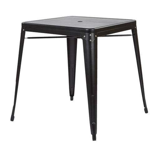 Bristow Metal Dining with Umbrella Hole Center Placement table in Matte Black Finish