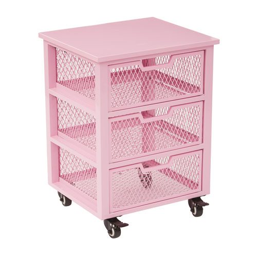 Office Star Products Clayton 3 Drawer Rolling Cart In Pink Metal Finish  Frame