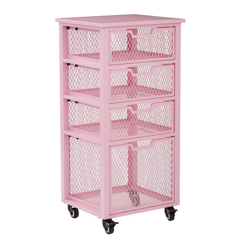 Office Star Products Clayton 4 Drawer Rolling Cart in Pink Metal Finish Frame