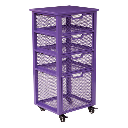 Clayton 4 Drawer Rolling Cart in Purple Metal Finish Frame