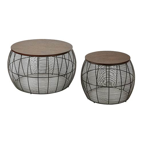 Office Star Products Camden Espresso Two Piece Round Metal Accent Tables with Wood Top