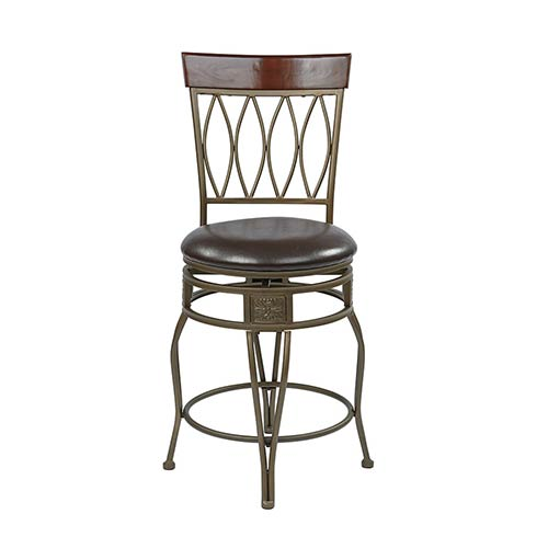 Office Star Products Cosmo Espresso 40-Inch High Metal Swivel Barstool with Faux Leather Seat