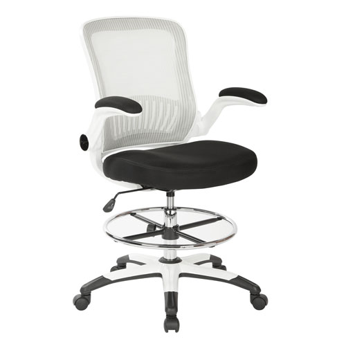 Mesh Back Drafting Chair with Black Mesh Seat and Adjustable Footring
