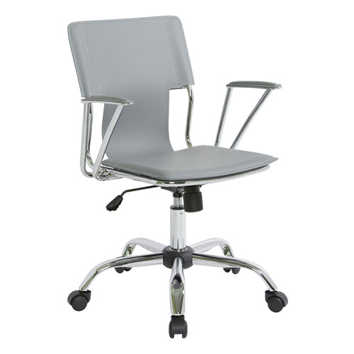 Office Star Products Dorado Chair In Grey Vinyl And Chrome Finish