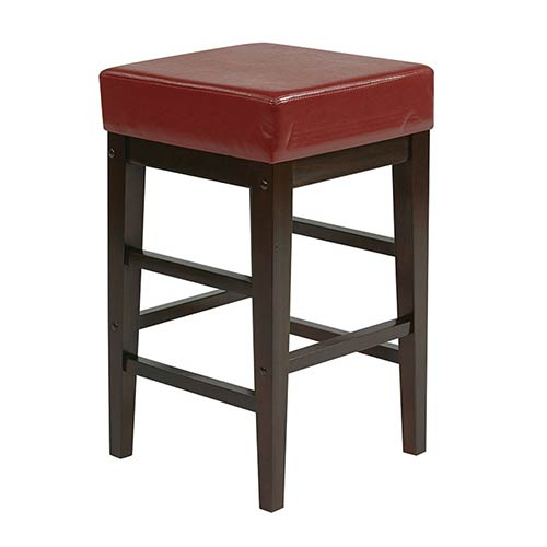 Office Star Products Metro Red 25-Inch High Square Stool
