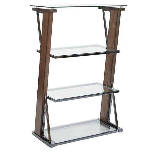 Eureka 4-Shelf Bookcase with Carmel Wood and Nickel Metal Tube