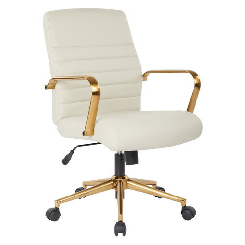 Mid-Back Cream Faux Leather Chair with Gold Finish Arms and Base