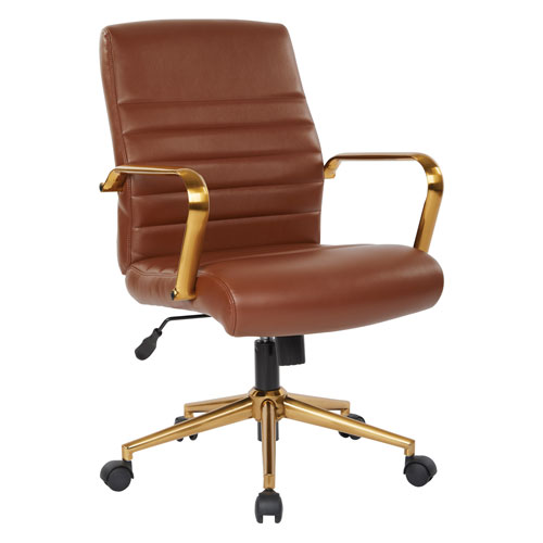 Mid-Back Saddle Faux Leather Chair with Gold Finish Arms and Base