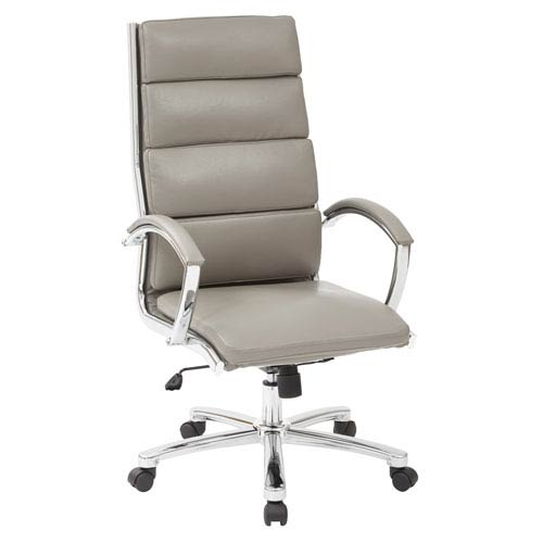 Office Star Products High Back Executive White Faux Leather Chair