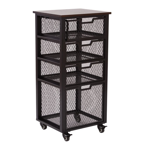 Office Star Products Garret Black 4 Drawer Rolling Cart