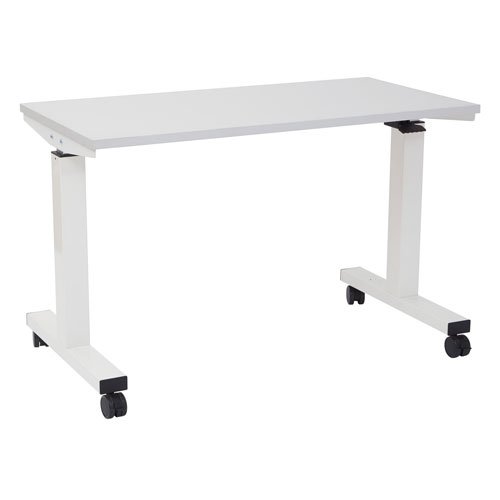 4-Feet Wide Pneumatic Height Adjustable Table with Locking Black Casters
