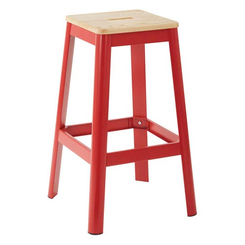 Hammond 30-Inch Metal Barstool with Lightwood Seat and Frosted Red Frame Finish Kd