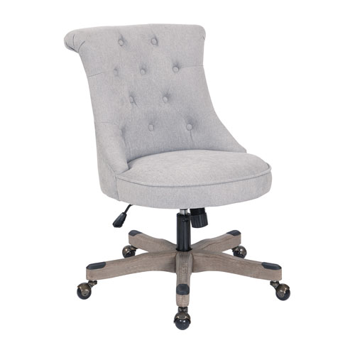 Hannah Tufted Office Chair in Fog Fabric with Grey wood Base