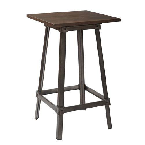 Indio Pub Table in Matte Gunmetal Finish with Vintage Ash Walnut Top
