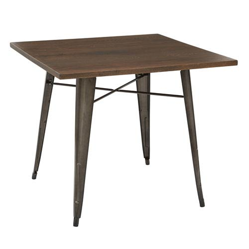 Office Star S Indio Metal Table With Matte Frame Finish And Walnut Veneer Top