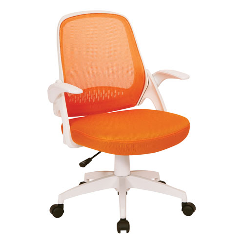 Jackson Office Chair with Orange Mesh and White Frame including Flip Arms