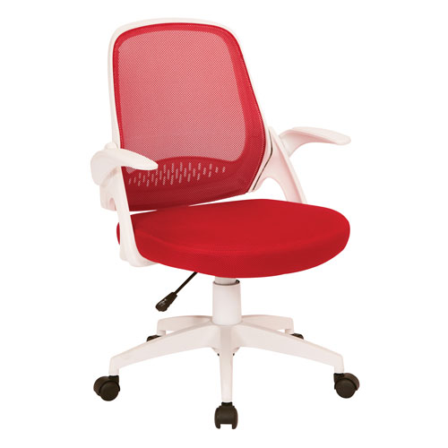 Jackson Office Chair with Red Mesh and White Frame including Flip Arms