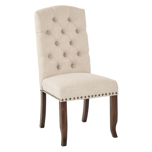 Jessica Tufted Dining Chair in Linen Fabric with Bronze Nailheads and Coffee Legs