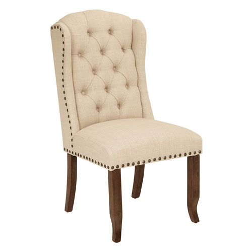 Jessica Tufted Wing Chair in Linen Fabric with Bronze Nailheads and Coffee Legs