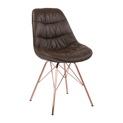 Langdon Chair in Saddle Distressed Fabric with Rose Gold Base