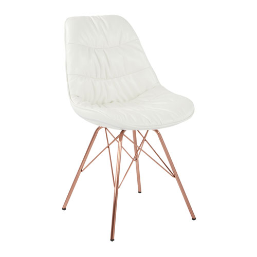 Langdon Chair in White Faux Leather with Rose Gold Base