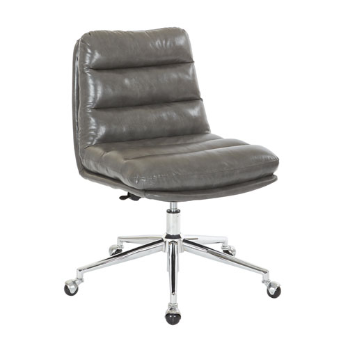Legacy Office Chair in Deluxe Pewter Faux Leather with Chrome Base