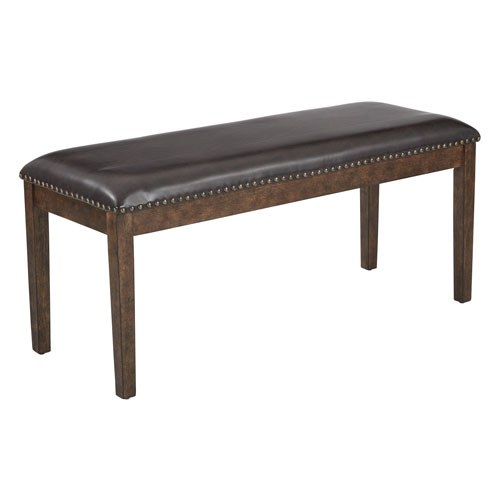 Langston Bench in Espresso PU with Antique Bronze Nail Heads