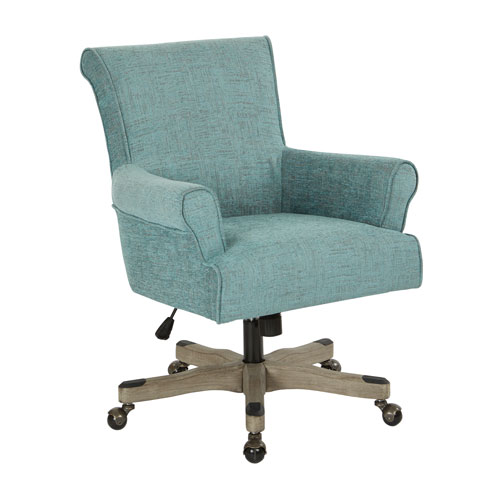 Megan Office Chair in Tourquoise Fabric with Grey Wash Wood