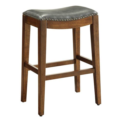 Office Star Products Metro 29-Inch Saddle Stool with Nail Head Accents and Espresso Finish Legs with Pewter Bonded Leather