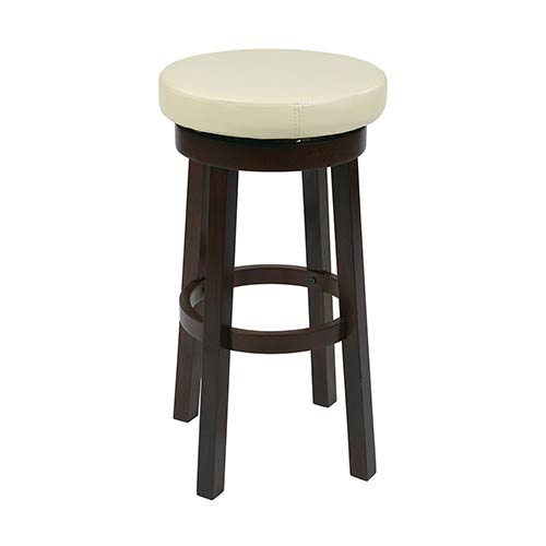 Office Star Products Metro Cream 25-Inch High Faux Leather Round Barstool