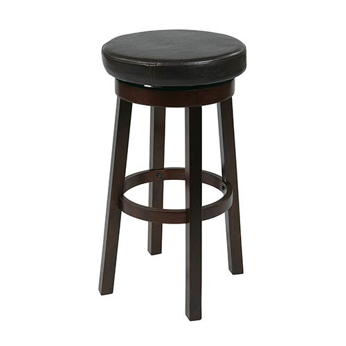 Office Star Products Metro Espresso 25-Inch High Faux Leather Round Barstool