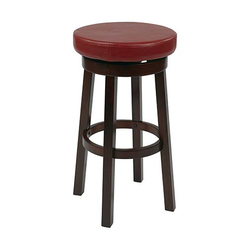 Metro Crimson Red 25-Inch High Faux Leather Round Barstool