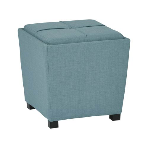 Metro Turquoise 2-Piece Ottoman Set with Tray Top