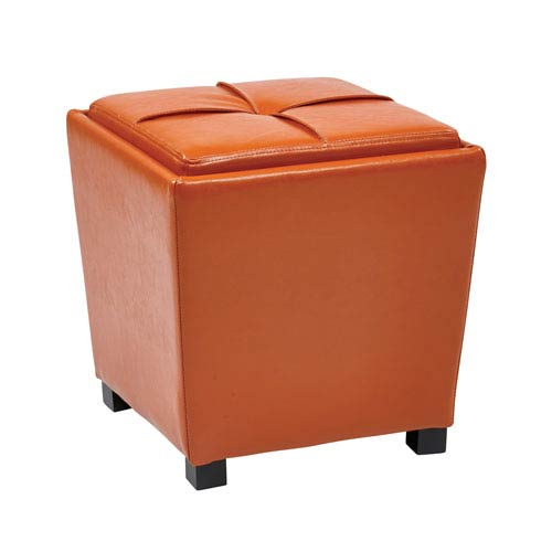 Metro Orange 2-Piece Vinyl Ottoman Set