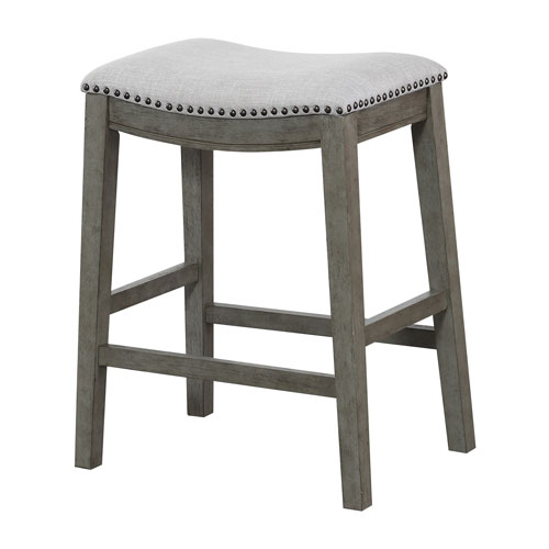 Saddle Stool 24-Inch in Grey Fabric and Antique Grey Base and Antique Bronze Nailheads 2-pack