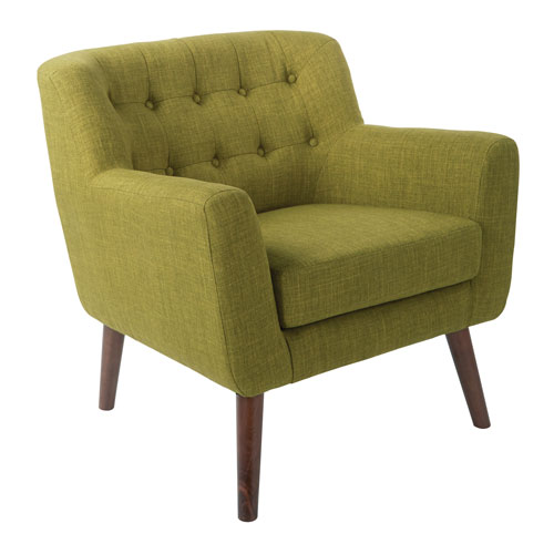 Mill Lane Chair in Green Fabric with Coffee Legs